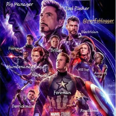 If #avengers were a Drilling Rig #crew . Like and share 😎  Para que no digan que nos olvidamos de los miembros de la cuadrilla, esta imagen se las dedicamos a ustedes .  #endgame #marvel #movies #ironman #hulk #thor #captainamerica #blackwidow #captainmarvel #perfomemes #oilfieldmemes