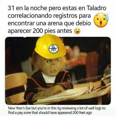 New Year's Eve but you're in the rig reviewing a lot of well logs to find a pay zone that should have appeared 200 feet ago. Like and comment 😁  #oilfieldmemes #perfomemes #newyear  #onguard #workinginnewyearseve #geologist @geologiapetrolera @geooil_gas @g_e_o_l_o_g_y_life @geologist_online @geologyscience
