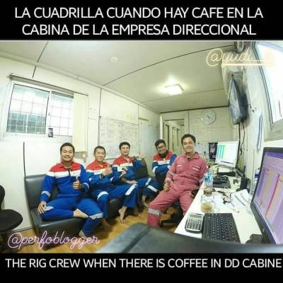 """""""Hay cafe☕ en la cabina direccional, vamos a buscar un Survey 😂"""". """"There is coffee in the DD cabin, let us go to look for a Survey list""""  Image thanks to 👉@yudi__k #indonesia 🇮🇩 #rig #perfomemes #oilfieldmemes #directionaldrilling #halliburton #pertamina"""