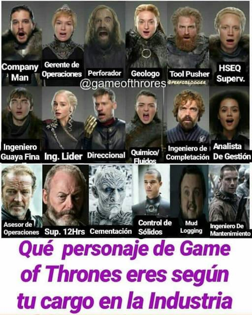 Which GOT's character  are you according to your jobbposition in Oilfield industry?  Like & comment  #perfomemes #oilfieldmemes #gameofthrones